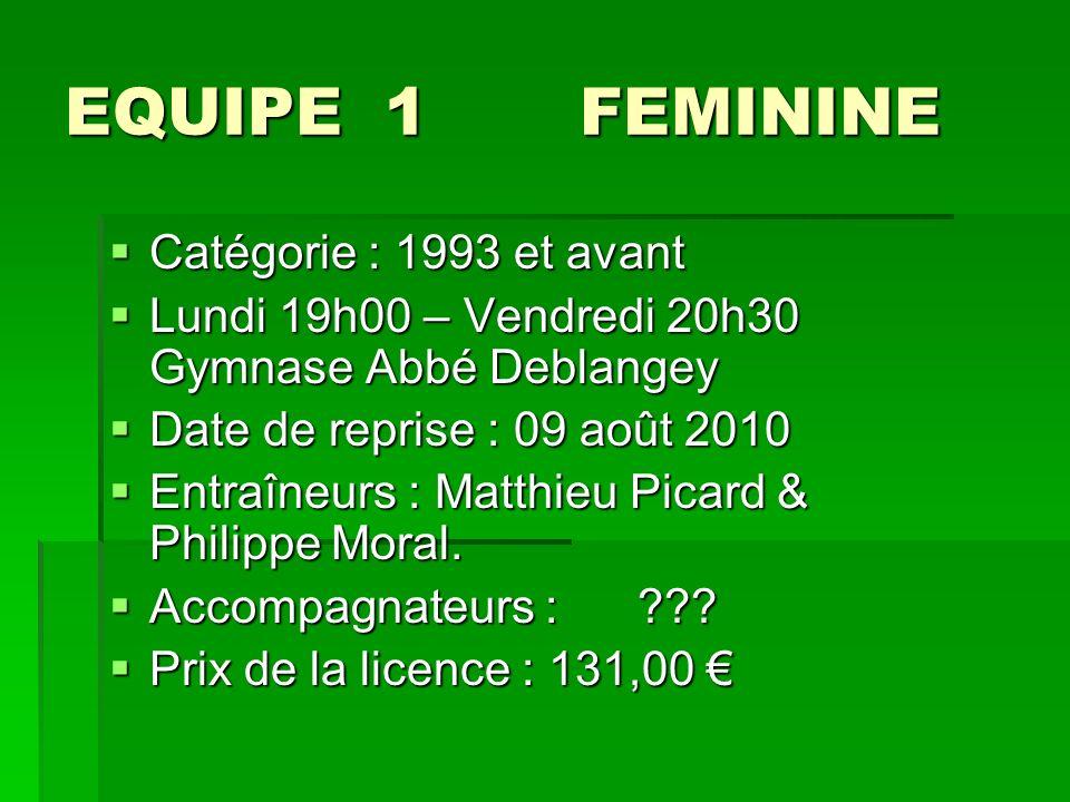 EQUIPE 1 FEMININE Catégorie : 1993 et avant Catégorie : 1993 et avant Lundi 19h00 – Vendredi 20h30 Gymnase Abbé Deblangey Lundi 19h00 – Vendredi 20h30