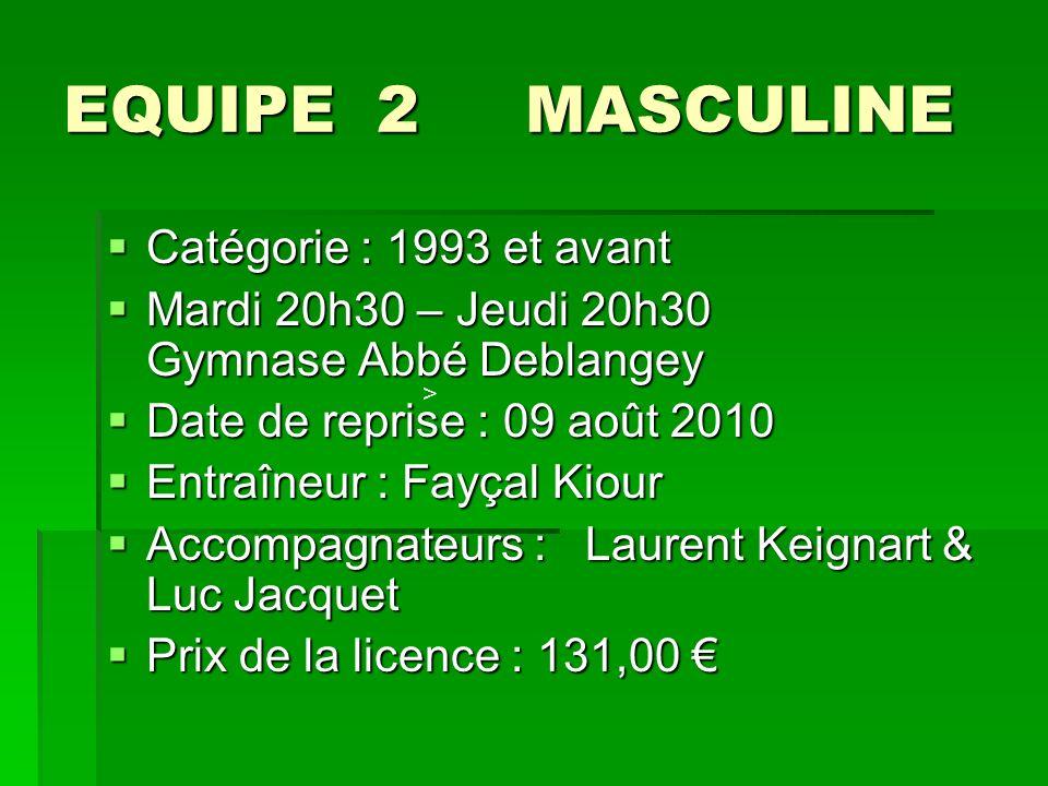 EQUIPE 2 MASCULINE Catégorie : 1993 et avant Catégorie : 1993 et avant Mardi 20h30 – Jeudi 20h30 Gymnase Abbé Deblangey Mardi 20h30 – Jeudi 20h30 Gymn