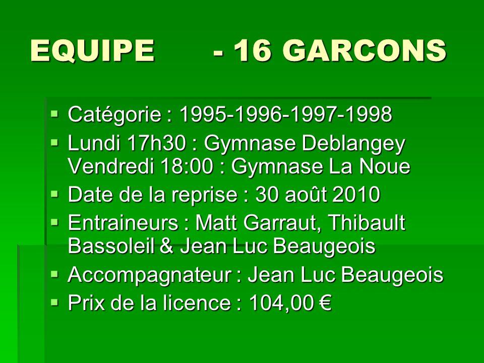 EQUIPE - 16 GARCONS Catégorie : 1995-1996-1997-1998 Catégorie : 1995-1996-1997-1998 Lundi 17h30 : Gymnase Deblangey Vendredi 18:00 : Gymnase La Noue L