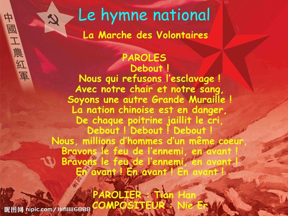 Le hymne national La Marche des Volontaires PAROLES Debout ! Nous qui refusons lesclavage ! Avec notre chair et notre sang, Soyons une autre Grande Mu