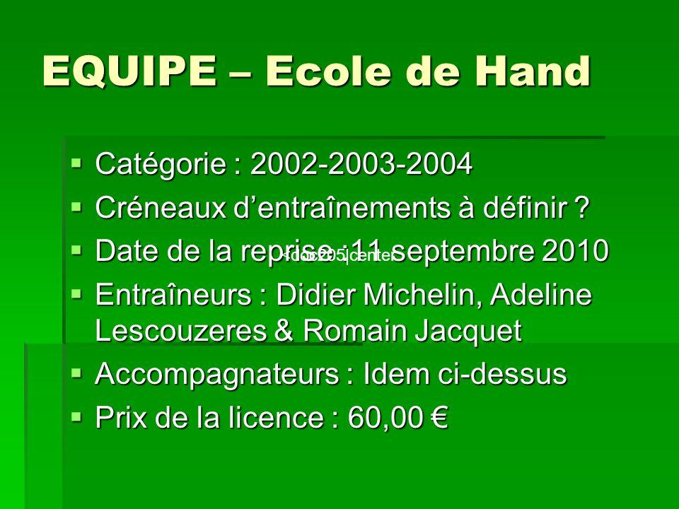 EQUIPE – Ecole de Hand Catégorie : 2002-2003-2004 Catégorie : 2002-2003-2004 Créneaux dentraînements à définir .