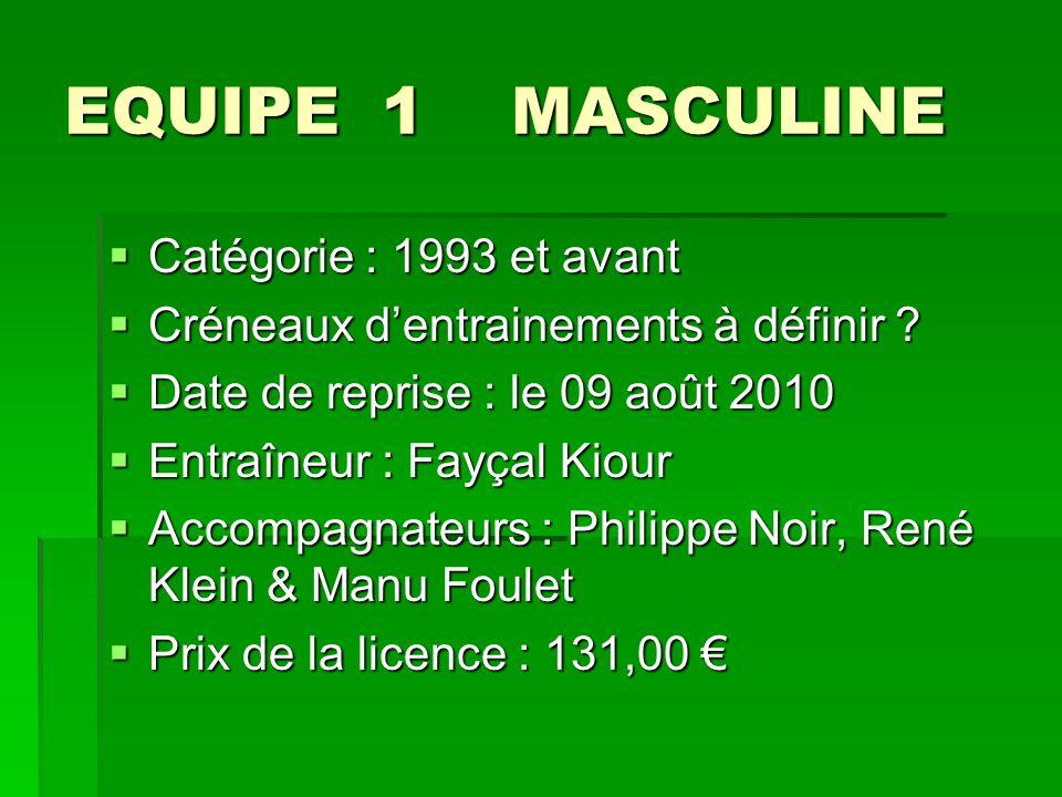 EQUIPE 1 MASCULINE Catégorie : 1993 et avant Catégorie : 1993 et avant Créneaux dentrainements à définir .