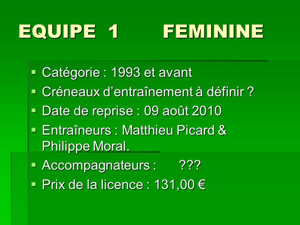 EQUIPE 1 FEMININE Catégorie : 1993 et avant Catégorie : 1993 et avant Créneaux dentraînement à définir .