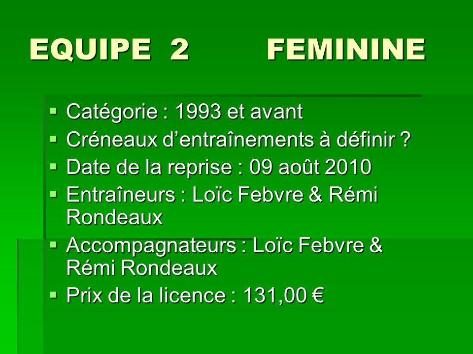 EQUIPE 2 FEMININE Catégorie : 1993 et avant Catégorie : 1993 et avant Créneaux dentraînements à définir .