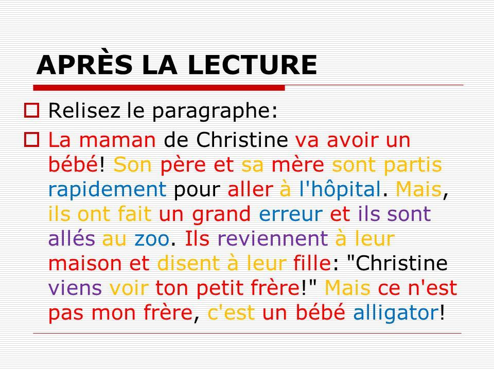 APRÈS LA LECTURE Relisez le paragraphe: La maman de Christine va avoir un bébé! Son père et sa mère sont partis rapidement pour aller à l'hôpital. Mai