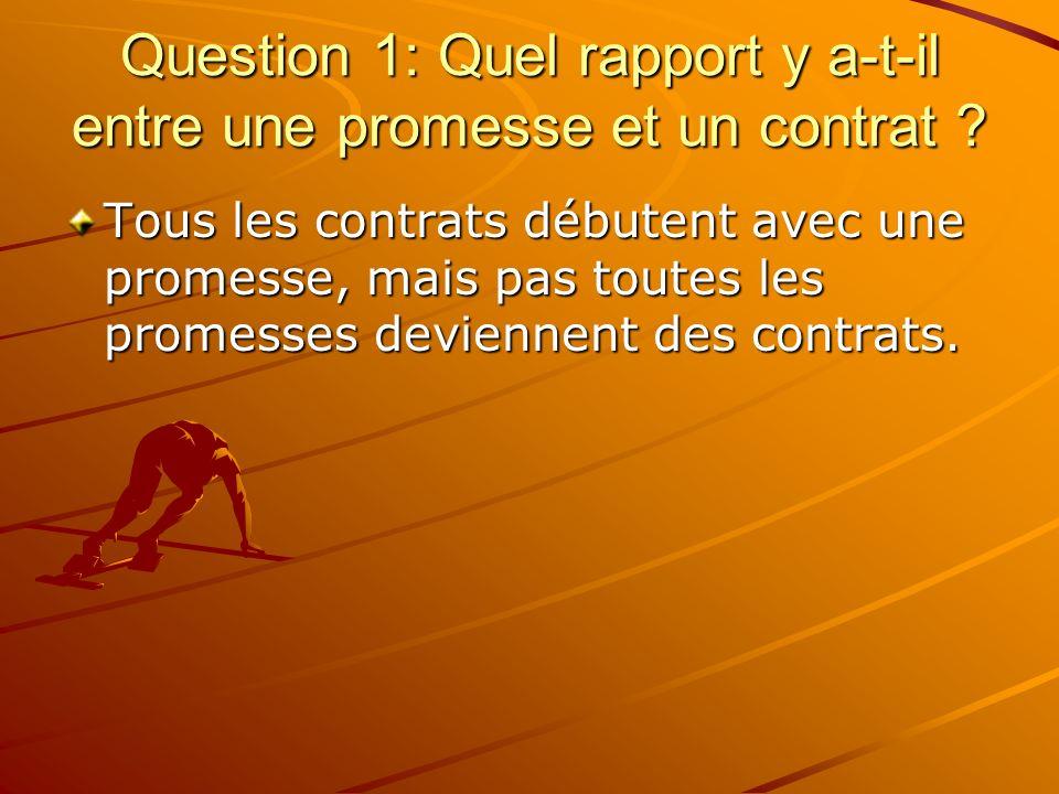 Question 1: Quel rapport y a-t-il entre une promesse et un contrat ? Tous les contrats débutent avec une promesse, mais pas toutes les promesses devie