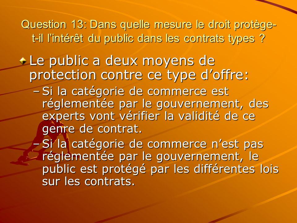 Question 13: Dans quelle mesure le droit protège- t-il lintérêt du public dans les contrats types ? Le public a deux moyens de protection contre ce ty