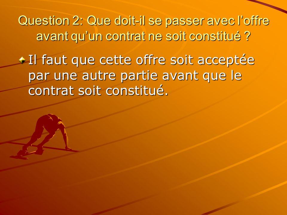 Question 3: Comment peut-on faire une offre au moyen dun acte autre que les paroles ou les mots écrits .