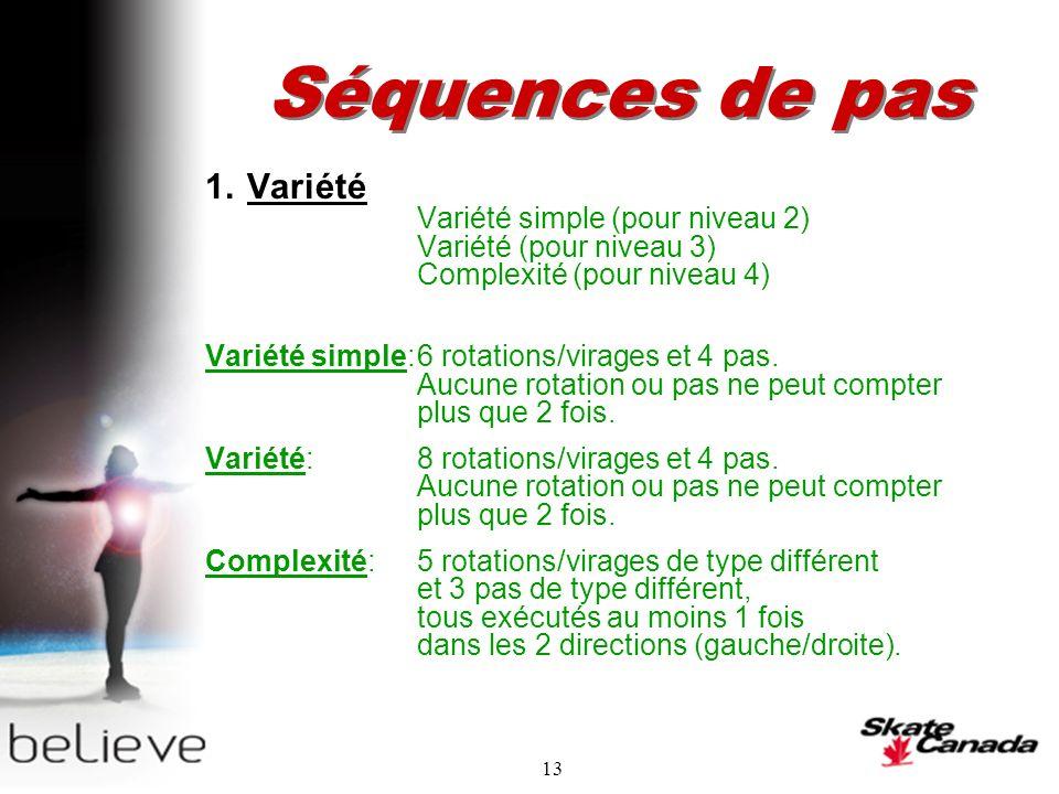 13 Séquences de pas 1.Variété Variété simple (pour niveau 2) Variété (pour niveau 3) Complexité (pour niveau 4) Variété simple:6 rotations/virages et 4 pas.