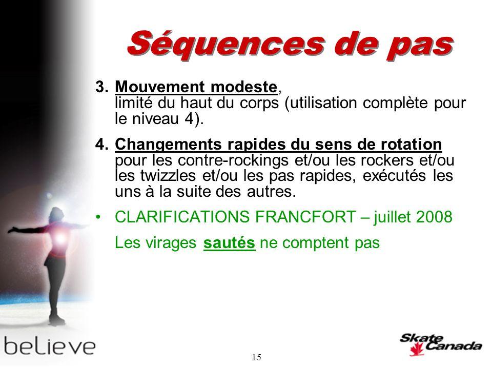 15 Séquences de pas 3.Mouvement modeste, limité du haut du corps (utilisation complète pour le niveau 4).