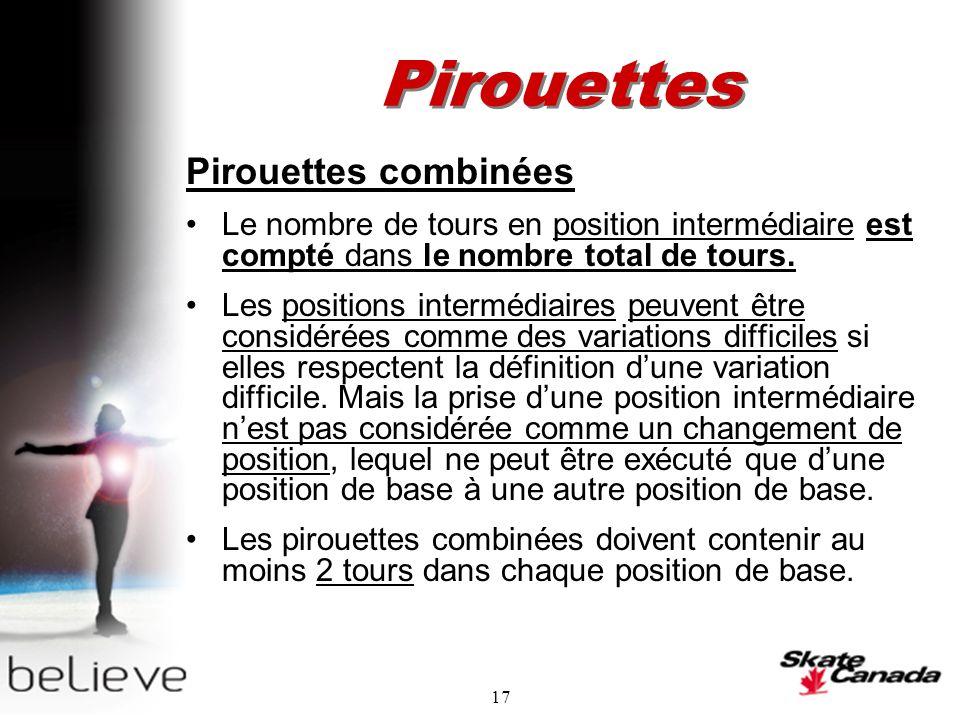 17 Pirouettes Pirouettes combinées Le nombre de tours en position intermédiaire est compté dans le nombre total de tours.