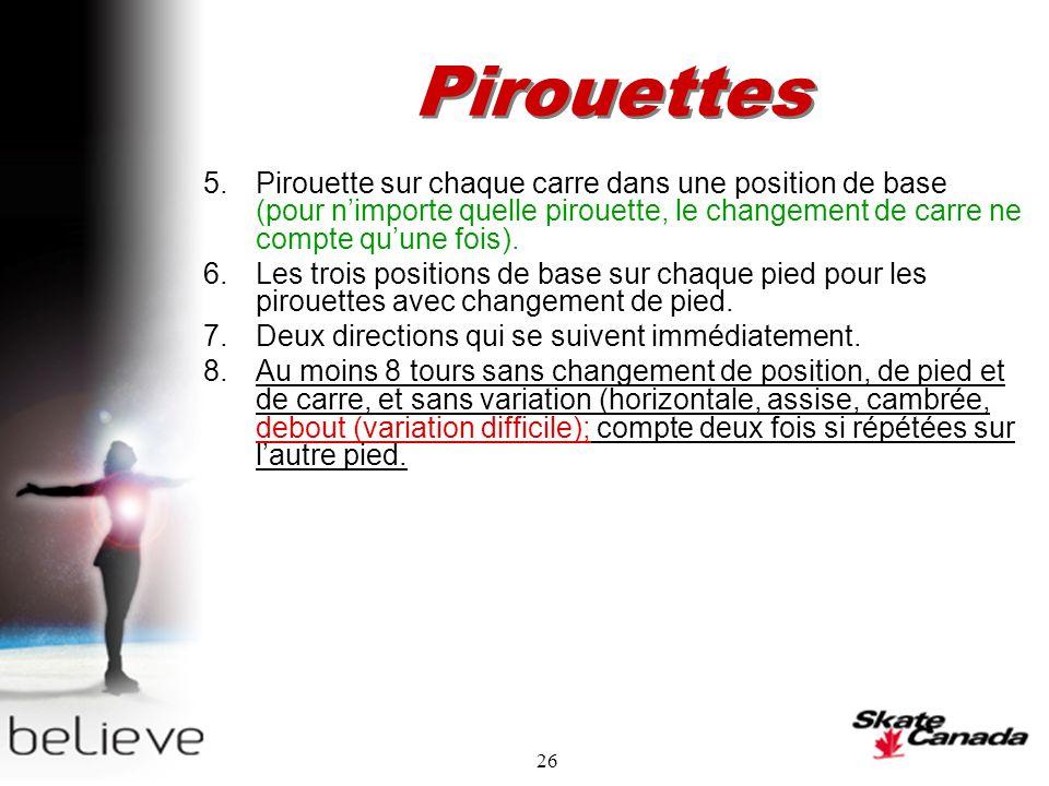 26 Pirouettes 5.Pirouette sur chaque carre dans une position de base (pour nimporte quelle pirouette, le changement de carre ne compte quune fois).