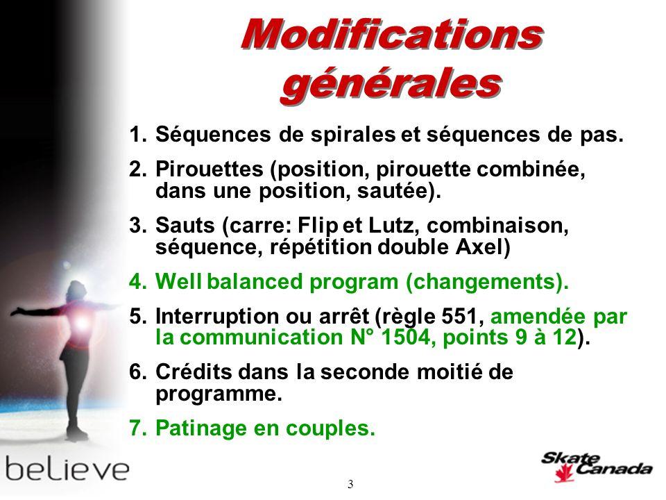 3 Modifications générales 1.Séquences de spirales et séquences de pas.