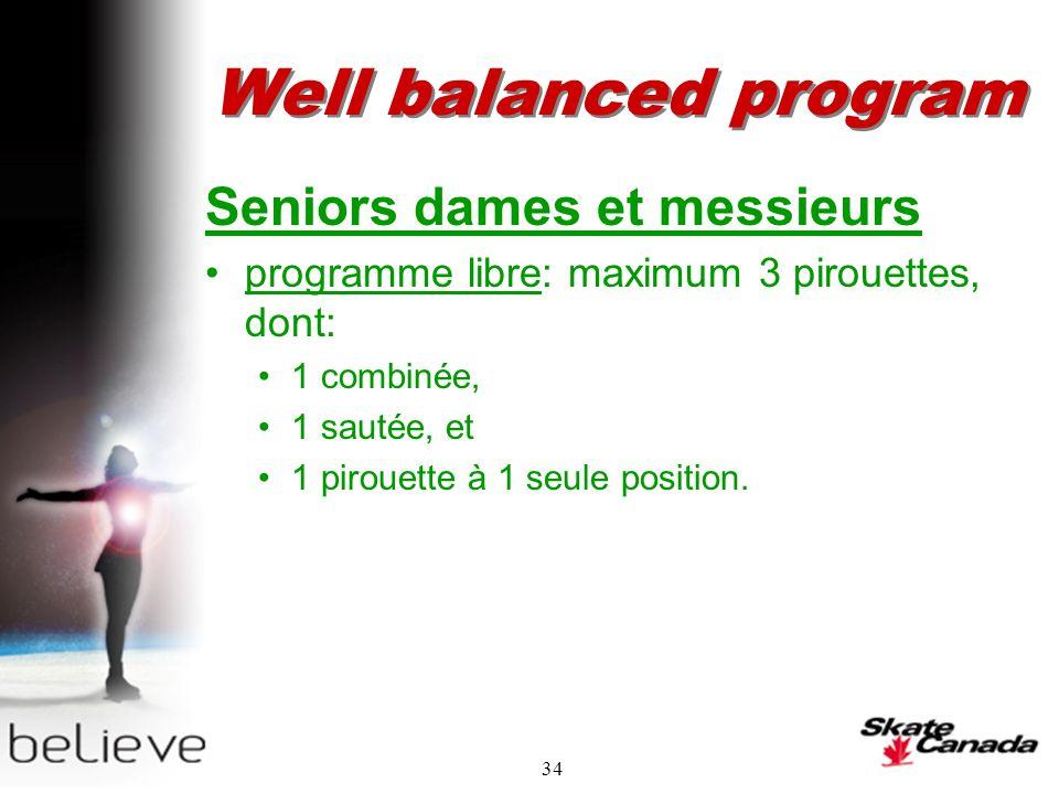 34 Well balanced program Seniors dames et messieurs programme libre: maximum 3 pirouettes, dont: 1 combinée, 1 sautée, et 1 pirouette à 1 seule position.