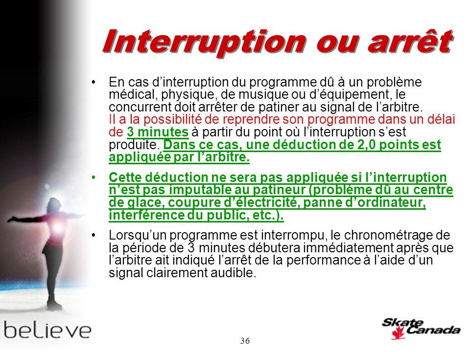 36 Interruption ou arrêt En cas dinterruption du programme dû à un problème médical, physique, de musique ou déquipement, le concurrent doit arrêter de patiner au signal de larbitre.