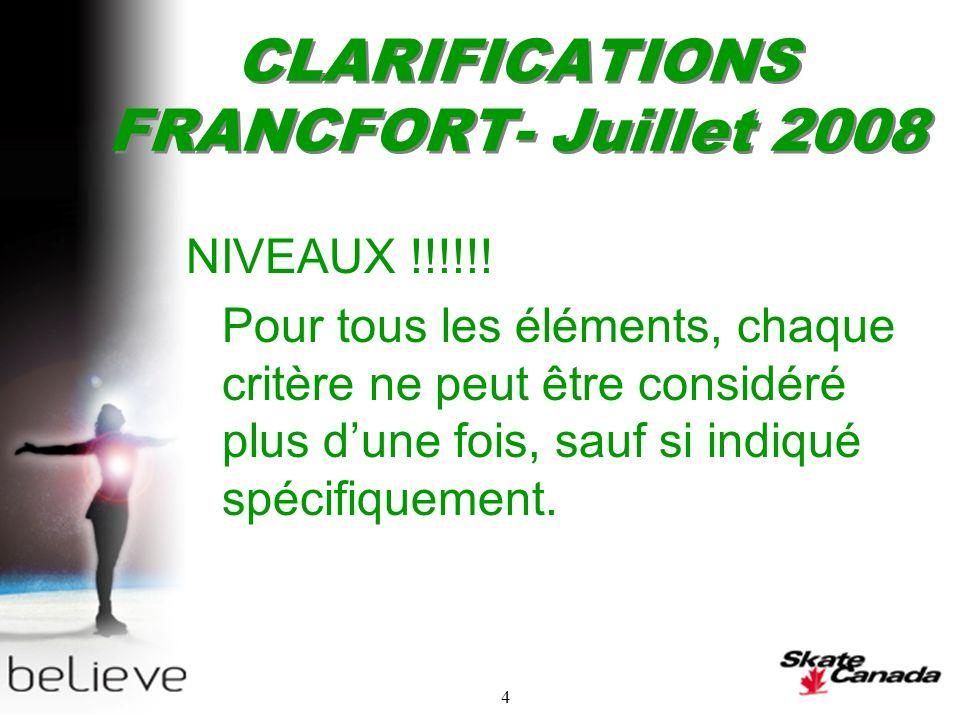 4 CLARIFICATIONS FRANCFORT- Juillet 2008 NIVEAUX !!!!!.