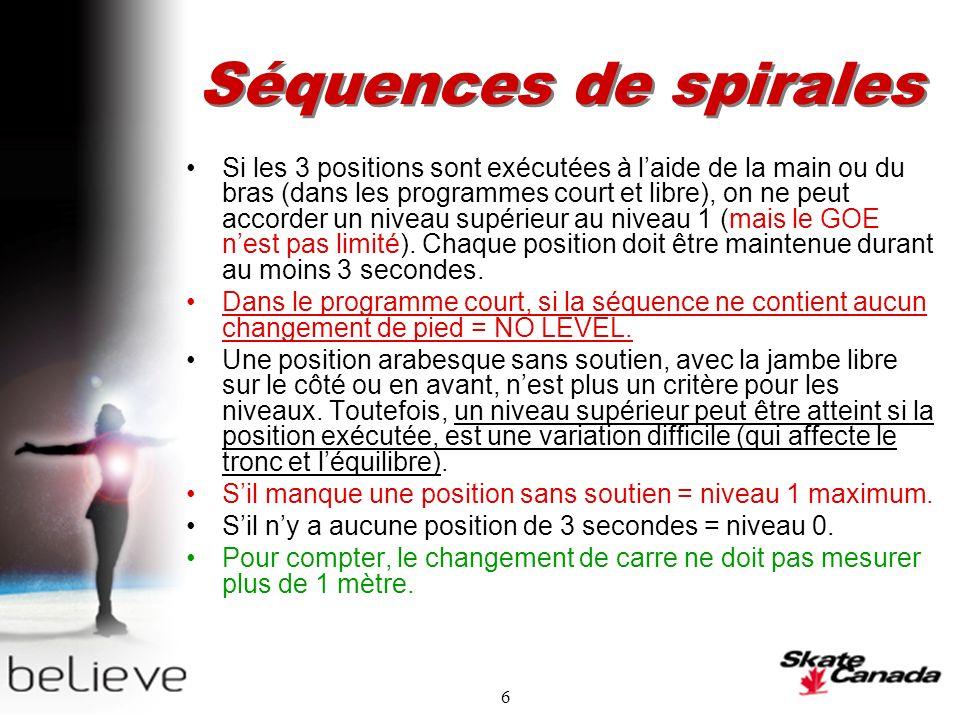 6 Séquences de spirales Si les 3 positions sont exécutées à laide de la main ou du bras (dans les programmes court et libre), on ne peut accorder un niveau supérieur au niveau 1 (mais le GOE nest pas limité).
