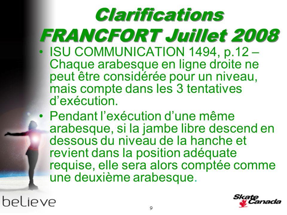 9 Clarifications FRANCFORT Juillet 2008 ISU COMMUNICATION 1494, p.12 – Chaque arabesque en ligne droite ne peut être considérée pour un niveau, mais compte dans les 3 tentatives dexécution.