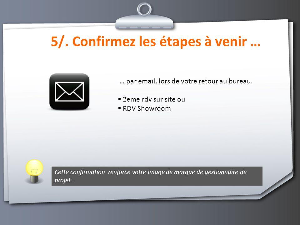 5/.Confirmez les étapes à venir … … par email, lors de votre retour au bureau.