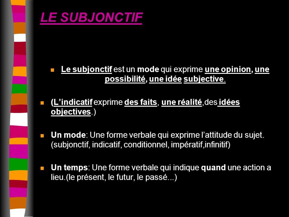 LE SUBJONCTIF n Le subjonctif est un mode qui exprime une opinion, une possibilité, une idée subjective.