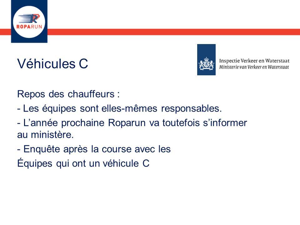 Véhicules C Repos des chauffeurs : - Les équipes sont elles-mêmes responsables. - Lannée prochaine Roparun va toutefois sinformer au ministère. - Enqu