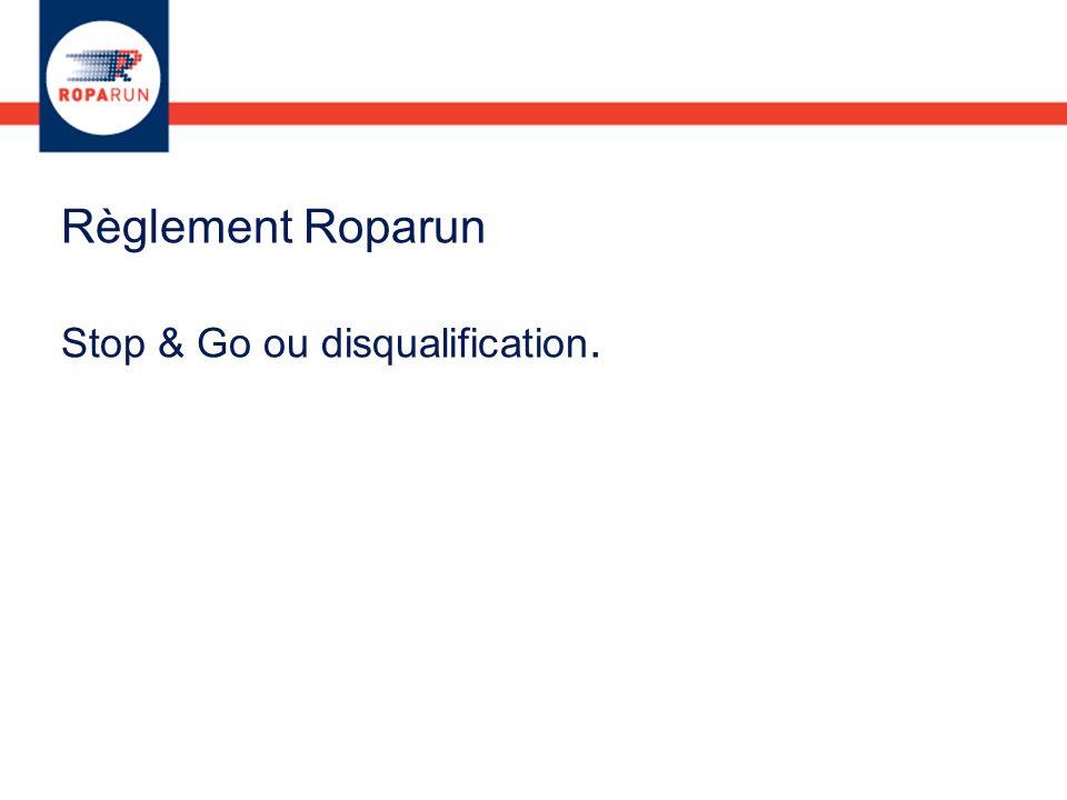 Règlement Roparun Stop & Go ou disqualification.