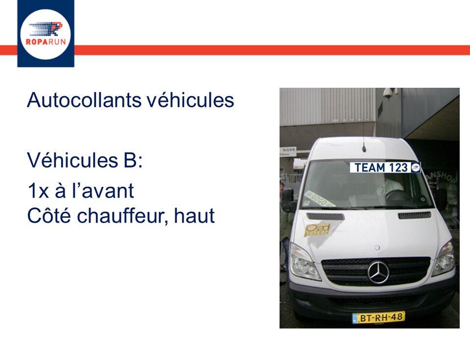 Autocollants véhicules Véhicules B: 1x à lavant Côté chauffeur, haut