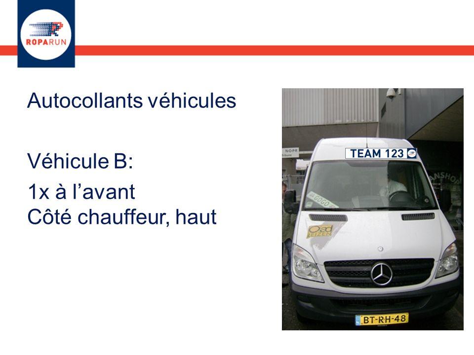Autocollants véhicules Véhicule B: 1x à lavant Côté chauffeur, haut