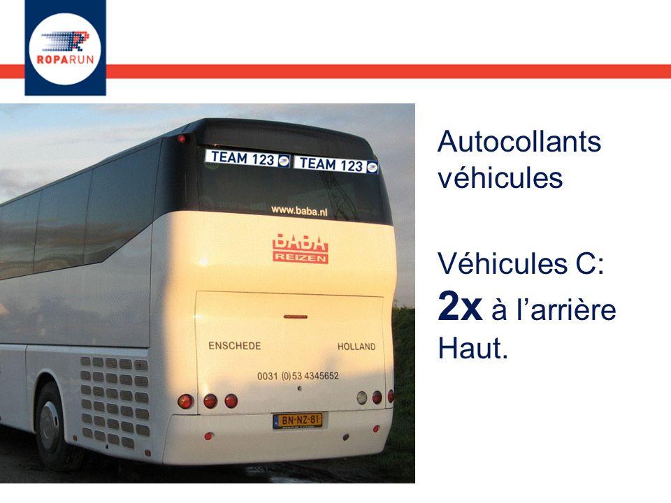Autocollants véhicules Véhicules C: 2x à larrière Haut.