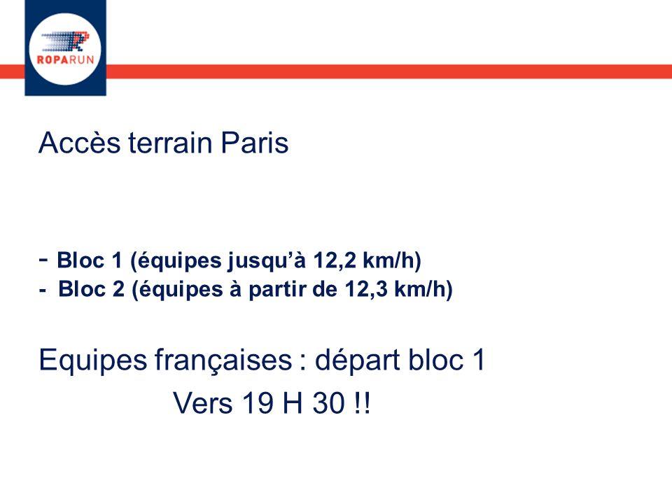 Accès terrain Paris - Bloc 1 (équipes jusquà 12,2 km/h) - Bloc 2 (équipes à partir de 12,3 km/h) Equipes françaises : départ bloc 1 Vers 19 H 30 !!