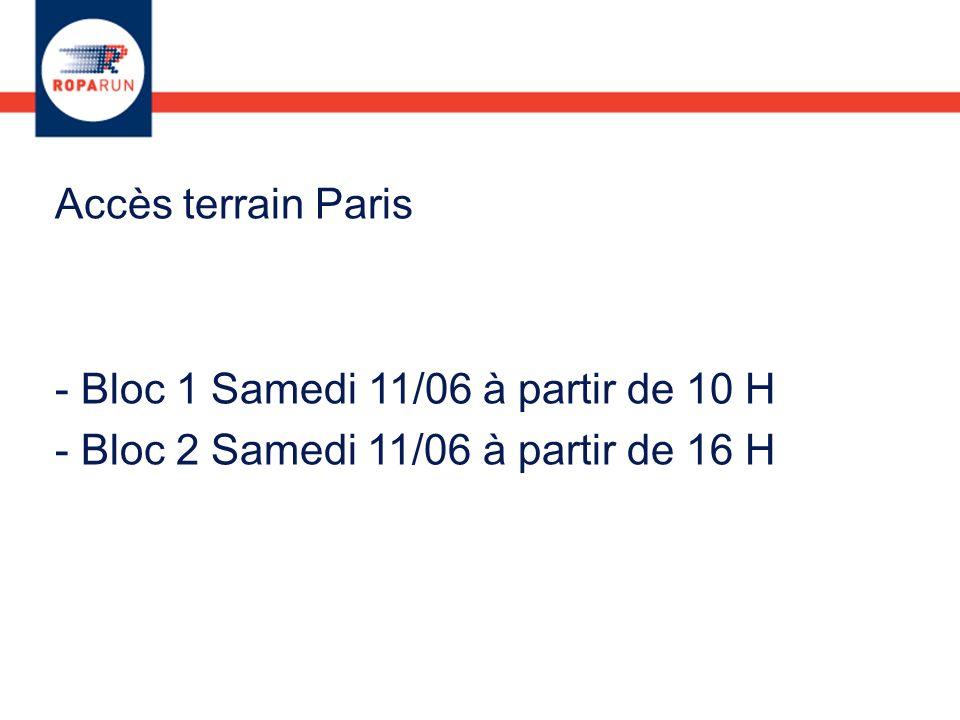 Accès terrain Paris - Bloc 1 Samedi 11/06 à partir de 10 H - Bloc 2 Samedi 11/06 à partir de 16 H