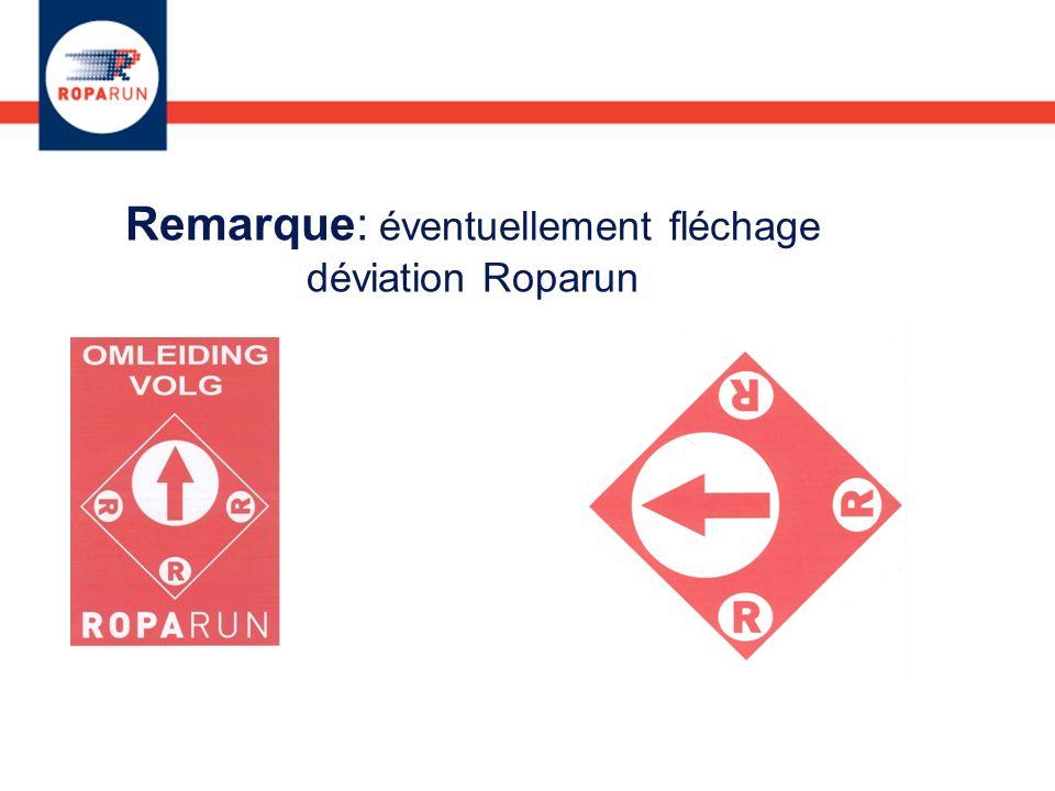 Remarque: éventuellement fléchage déviation Roparun