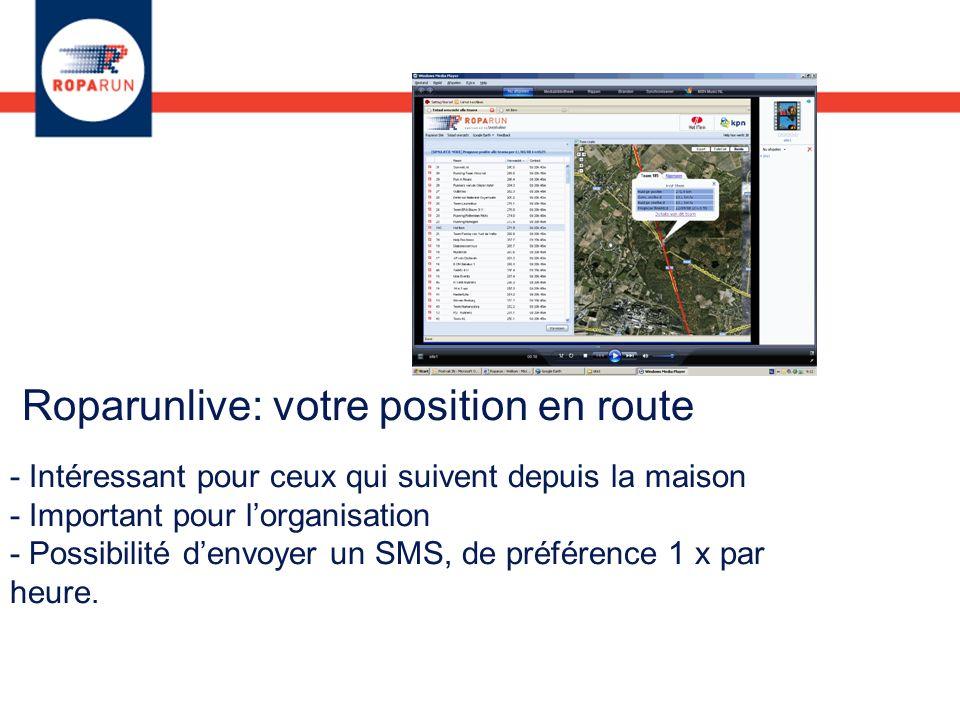 Roparunlive: votre position en route - Intéressant pour ceux qui suivent depuis la maison - Important pour lorganisation - Possibilité denvoyer un SMS, de préférence 1 x par heure.