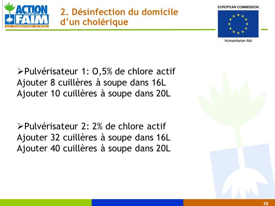 10 2. Désinfection du domicile dun cholérique Pulvérisateur 1: O,5% de chlore actif Ajouter 8 cuillères à soupe dans 16L Ajouter 10 cuillères à soupe