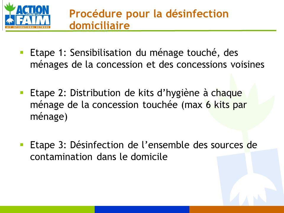 Procédure pour la désinfection domiciliaire Etape 1: Sensibilisation du ménage touché, des ménages de la concession et des concessions voisines Etape