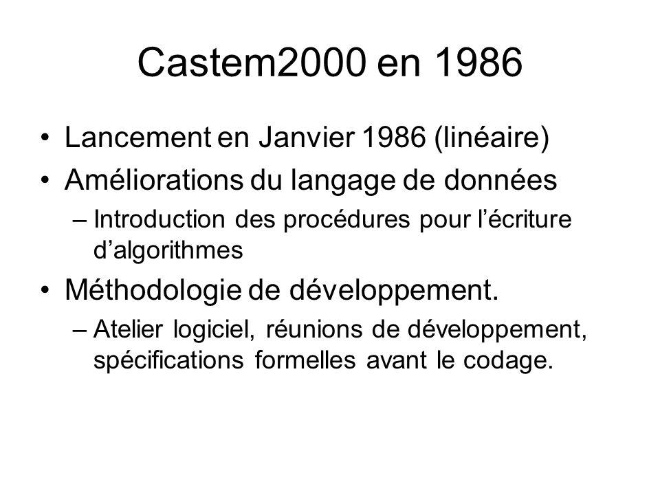 Castem2000 en 1986 Lancement en Janvier 1986 (linéaire) Améliorations du langage de données –Introduction des procédures pour lécriture dalgorithmes Méthodologie de développement.