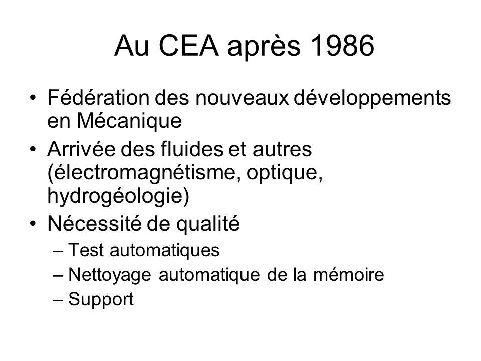 Au CEA après 1986 Fédération des nouveaux développements en Mécanique Arrivée des fluides et autres (électromagnétisme, optique, hydrogéologie) Nécessité de qualité –Test automatiques –Nettoyage automatique de la mémoire –Support
