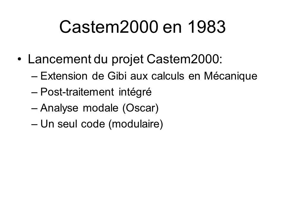 Castem2000 en 1983 Lancement du projet Castem2000: –Extension de Gibi aux calculs en Mécanique –Post-traitement intégré –Analyse modale (Oscar) –Un seul code (modulaire)
