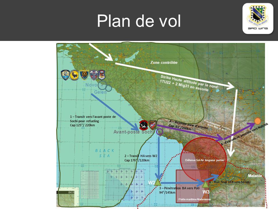 Plan de vol Novo Gelen Avant-poste Sochi Zone contrôlée Défense Sol-Air longueur portée Malanie Flotte maritime Malanienne Strike Haute altitude par le nord: 1TU22 + 2 Mig31 en escorte 1 – Transit vers lavant poste de Sochi pour refueling Cap 125°/ 220km 2 – Transit HA vers W2 Cap 176° /120km 3 – Pénétration BA vers Poti 94°/145km 4 – Run final VFR vers Senaki A – Rejointe zone dattente Cap 93°/200km B –Evacuation possible vers Nalchik W2 W3 Franchissement frontière entre 8h05 et 8h15