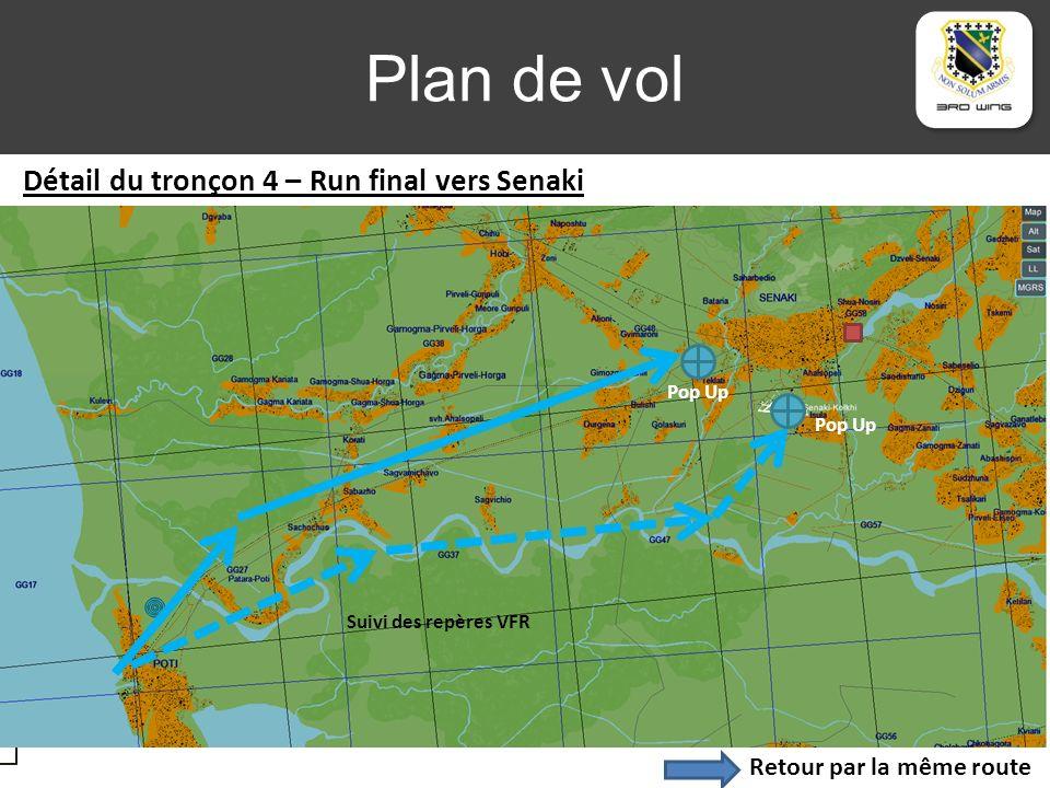 Plan de vol Zone 1 Zone 2 Zone 3 Suivi des repères VFR Pop Up Retour par la même route Détail du tronçon 4 – Run final vers Senaki Pop Up
