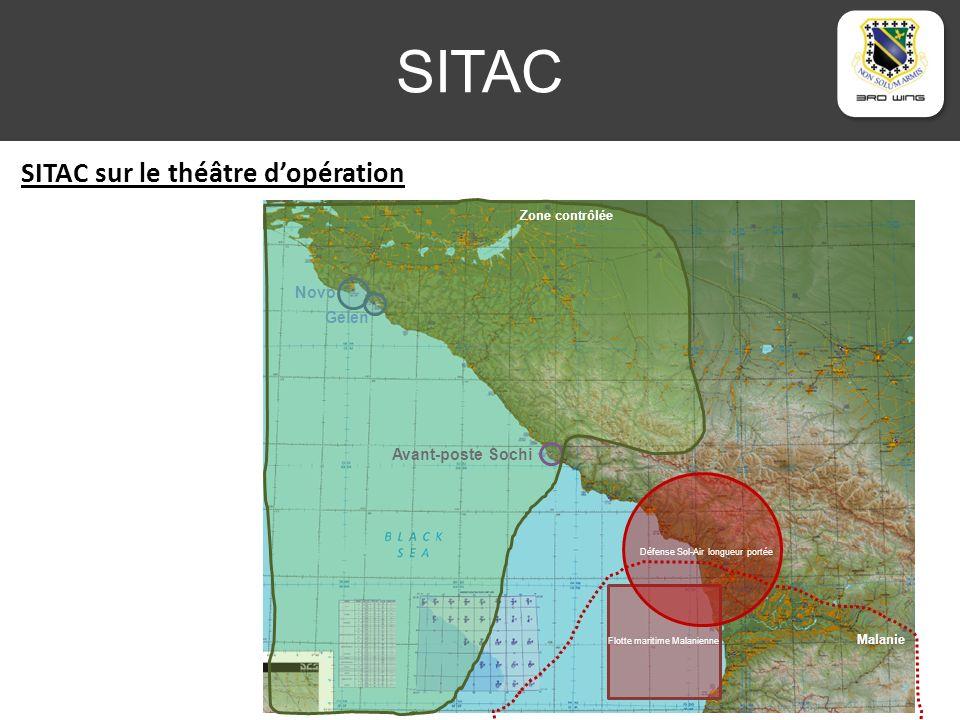 SITAC SITAC sur le théâtre dopération Novo Gelen Avant-poste Sochi Flotte maritime Malanienne Zone contrôlée Défense Sol-Air longueur portée Malanie