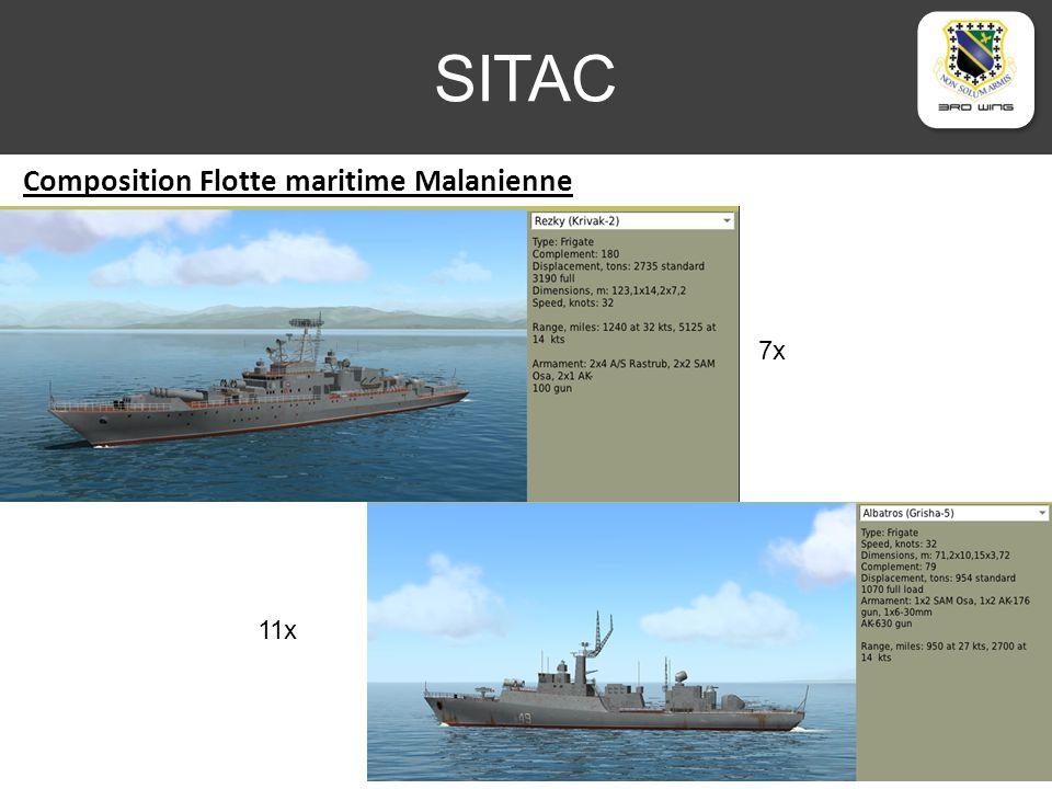 SITAC Position de la flotte maritime Malanienne Zone contrôlée Flotte en Protection de la capitale Senaki Site SAM longue portée