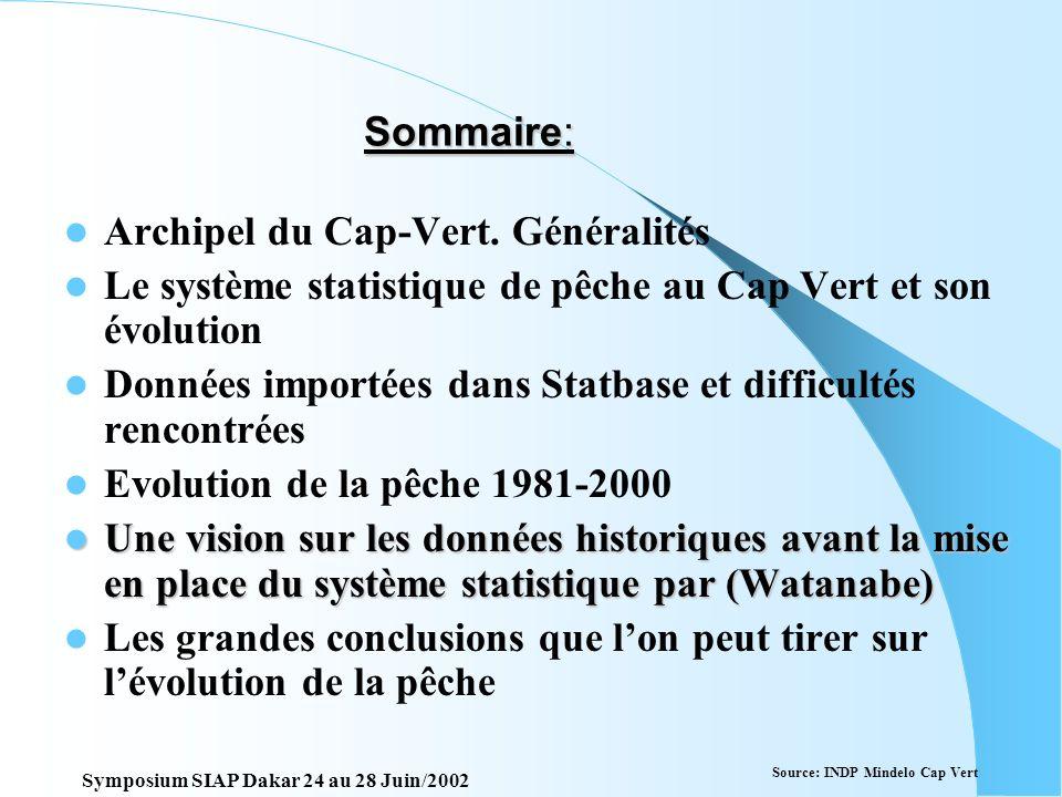 Evolution des pêcheries du Cap vert daprès les jeux de données statistiques. Description du Système statistique et analyse critique des données Montei