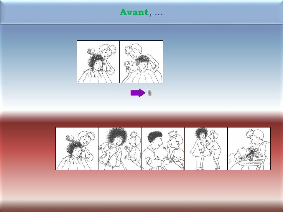 38 3M Maintenant, la coiffeuse sèche les cheveux de Rémi. Maintenant, la coiffeuse sèche les cheveux de Rémi.