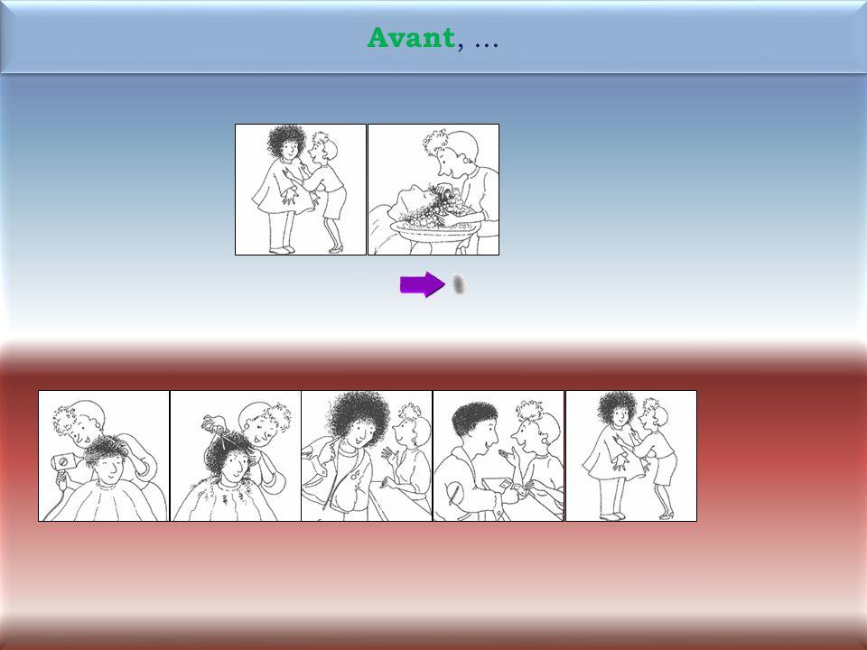 38 1M Maintenant, la coiffeuse lave les cheveux de Rémi. Maintenant, la coiffeuse lave les cheveux de Rémi.