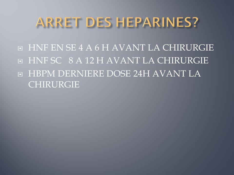 HNF EN SE 4 A 6 H AVANT LA CHIRURGIE HNF SC 8 A 12 H AVANT LA CHIRURGIE HBPM DERNIERE DOSE 24H AVANT LA CHIRURGIE