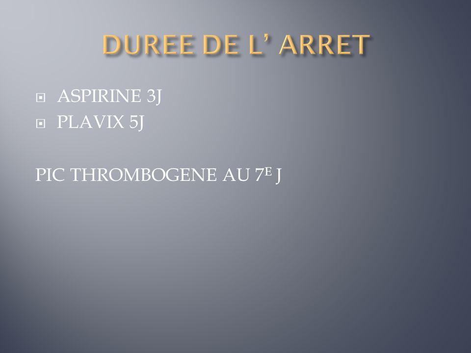 ASPIRINE 3J PLAVIX 5J PIC THROMBOGENE AU 7 E J