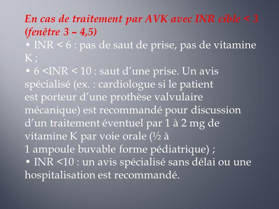 En cas de traitement par AVK avec INR cible < 3 (fenêtre 3 – 4,5) INR < 6 : pas de saut de prise, pas de vitamine K ; 6 <INR < 10 : saut dune prise. U