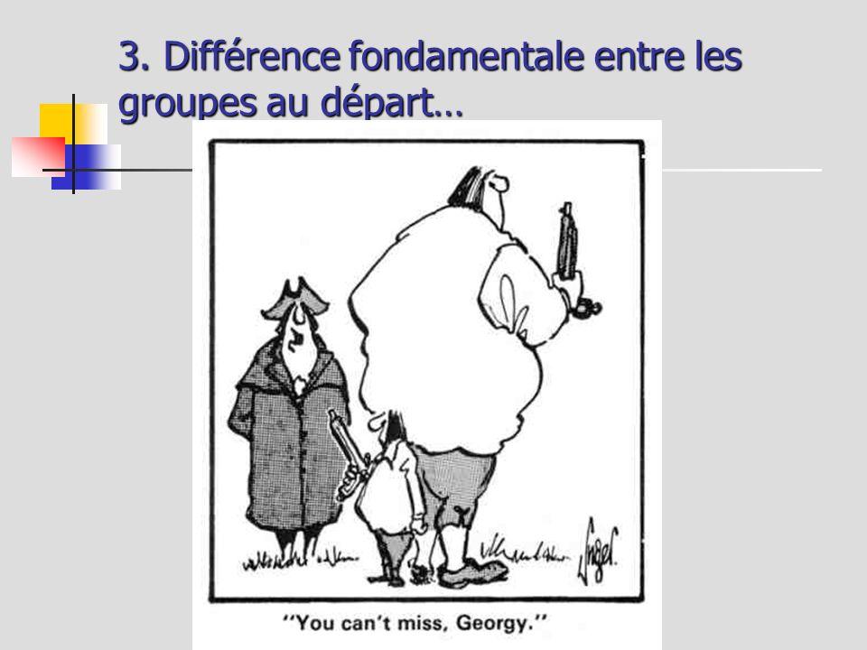 3. Différence fondamentale entre les groupes au départ…