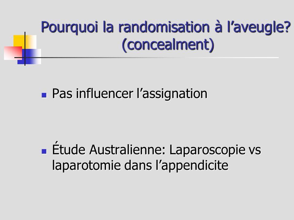 Pourquoi la randomisation à laveugle? (concealment) Pas influencer lassignation Pas influencer lassignation Étude Australienne: Laparoscopie vs laparo